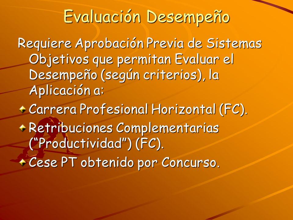 Evaluación Desempeño Requiere Aprobación Previa de Sistemas Objetivos que permitan Evaluar el Desempeño (según criterios), la Aplicación a: