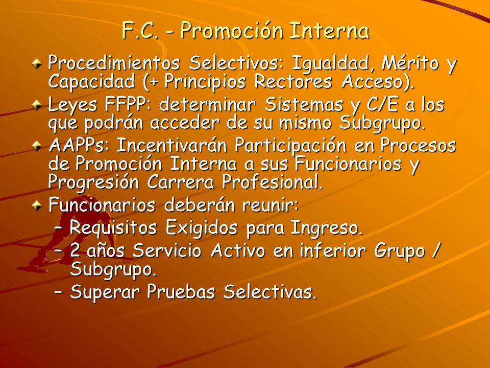 F.C. - Promoción Interna Procedimientos Selectivos: Igualdad, Mérito y Capacidad (+ Principios Rectores Acceso).
