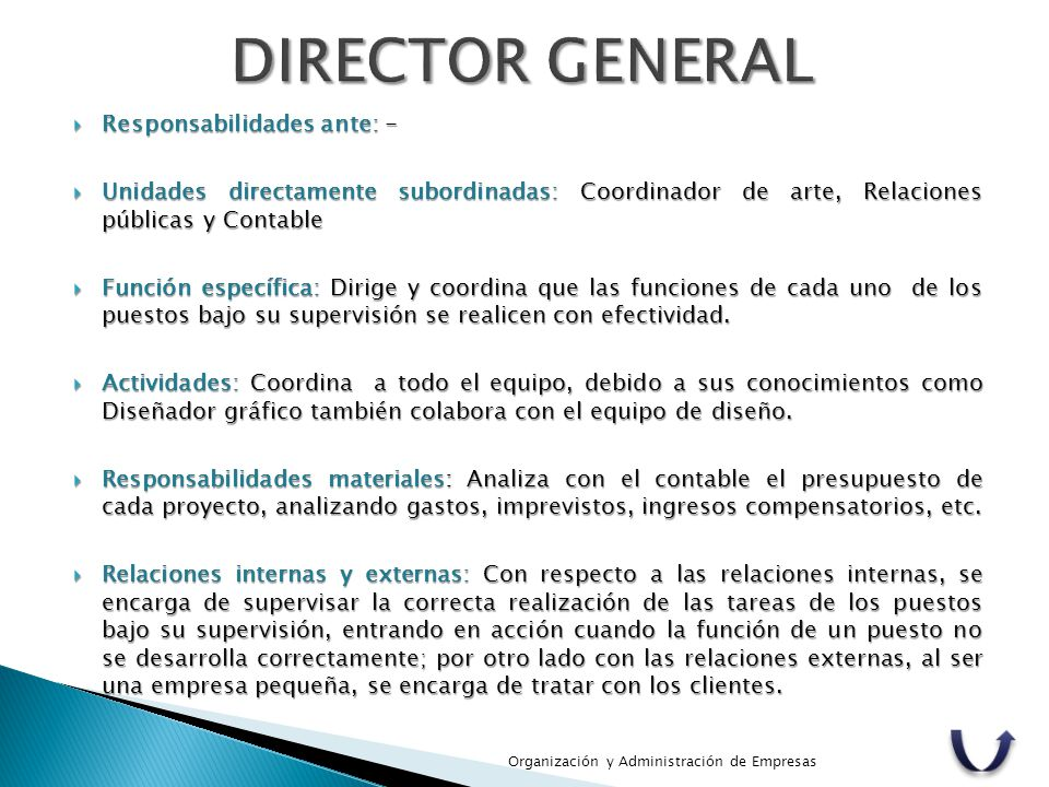 DIRECTOR GENERAL Responsabilidades ante: -