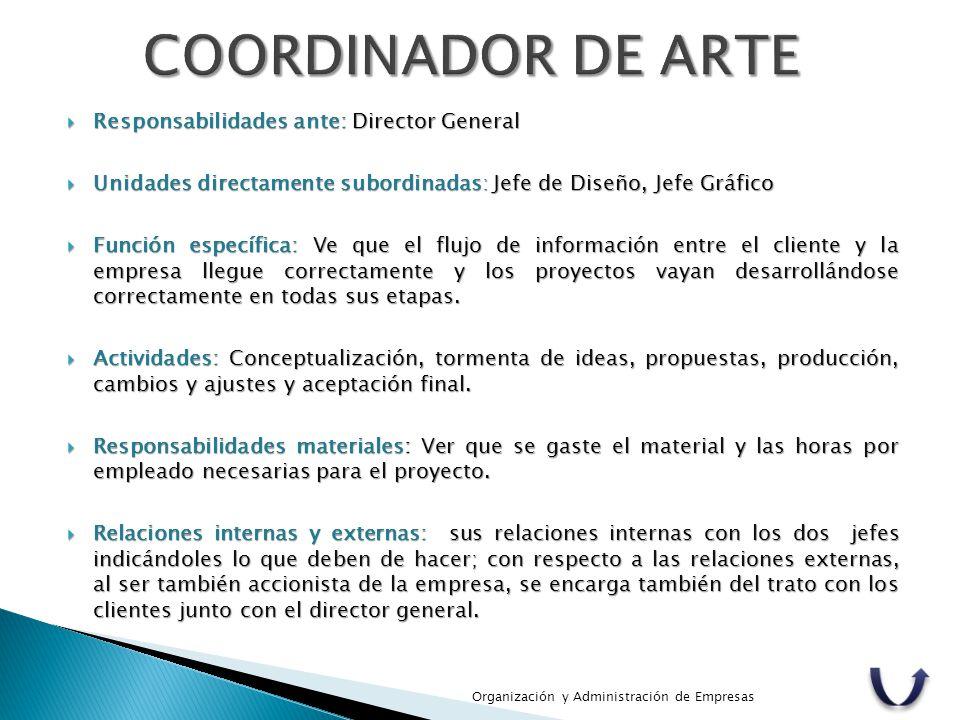 COORDINADOR DE ARTE Responsabilidades ante: Director General