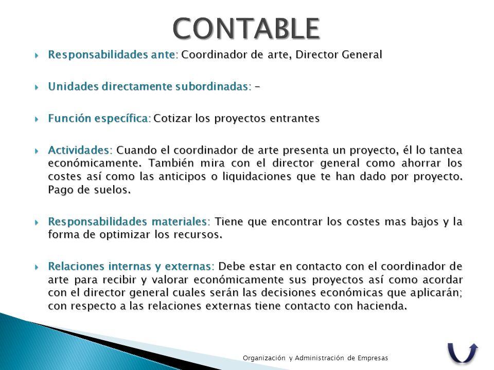 CONTABLE Responsabilidades ante: Coordinador de arte, Director General