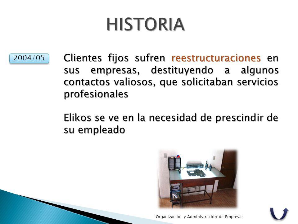 HISTORIA Clientes fijos sufren reestructuraciones en sus empresas, destituyendo a algunos contactos valiosos, que solicitaban servicios profesionales.