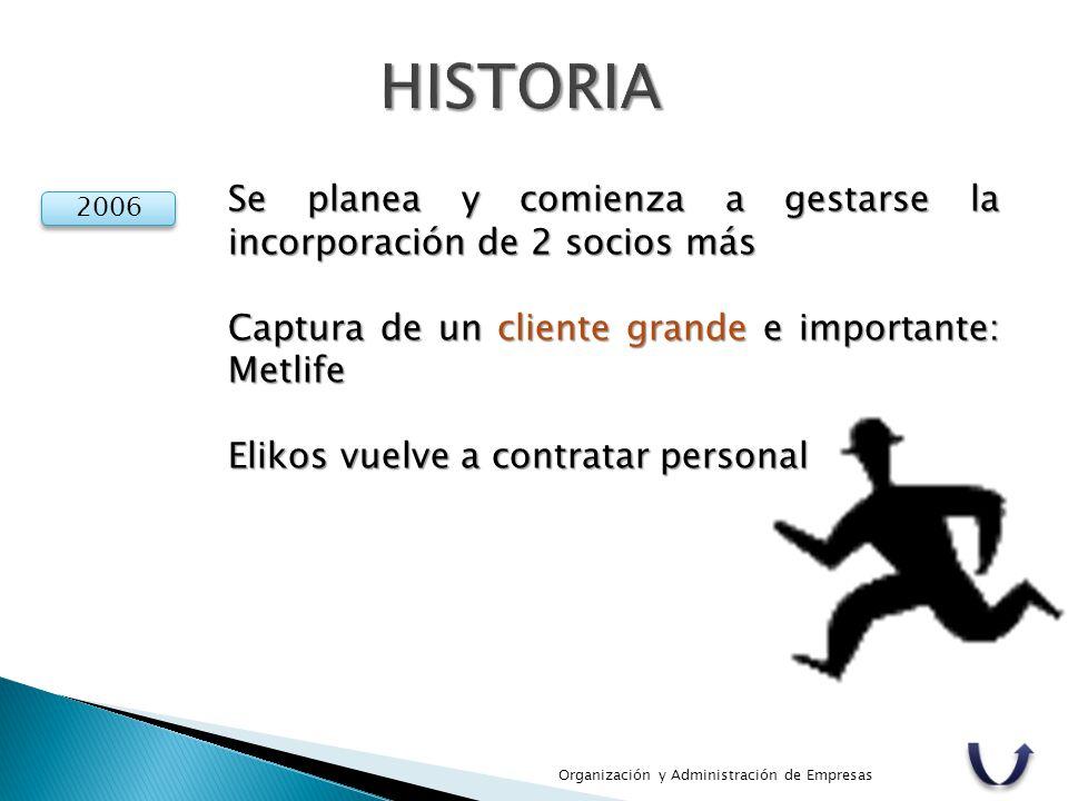 HISTORIA Se planea y comienza a gestarse la incorporación de 2 socios más. Captura de un cliente grande e importante: Metlife.