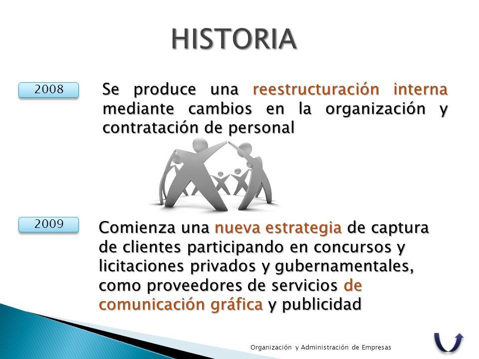 HISTORIA Se produce una reestructuración interna mediante cambios en la organización y contratación de personal.