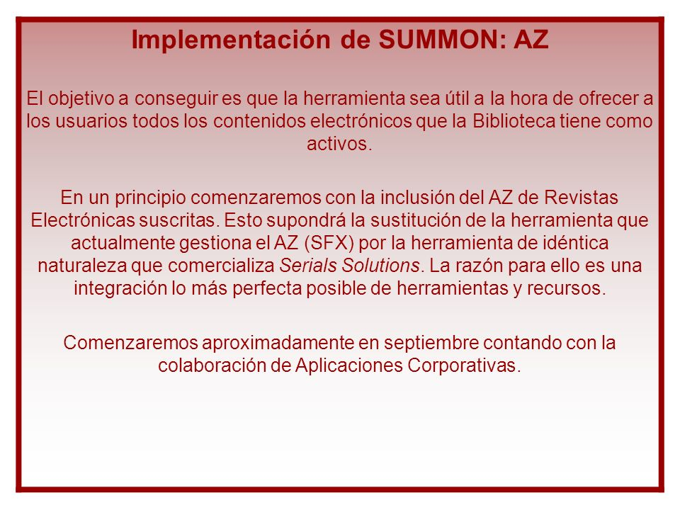 Implementación de SUMMON: AZ