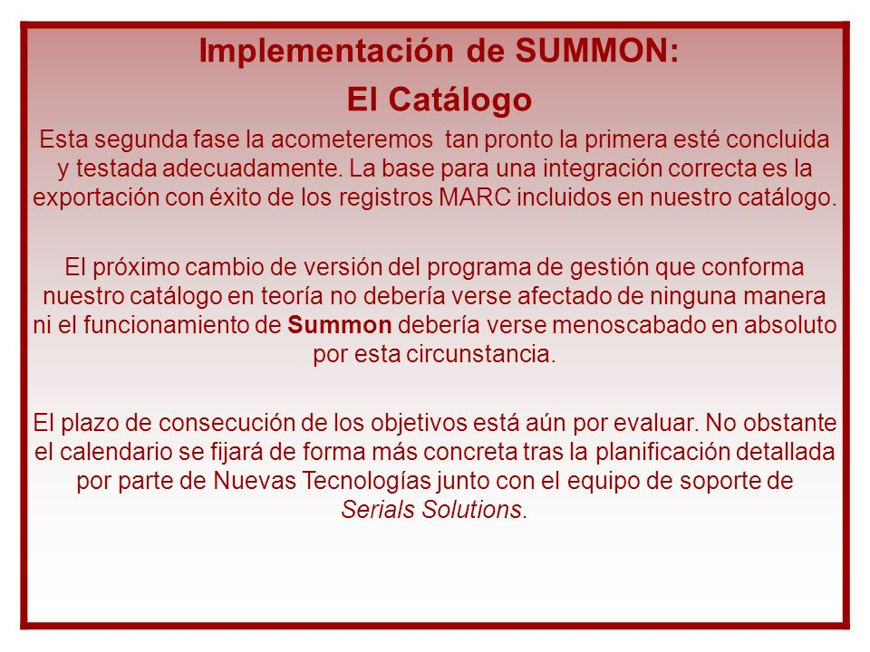 Implementación de SUMMON: