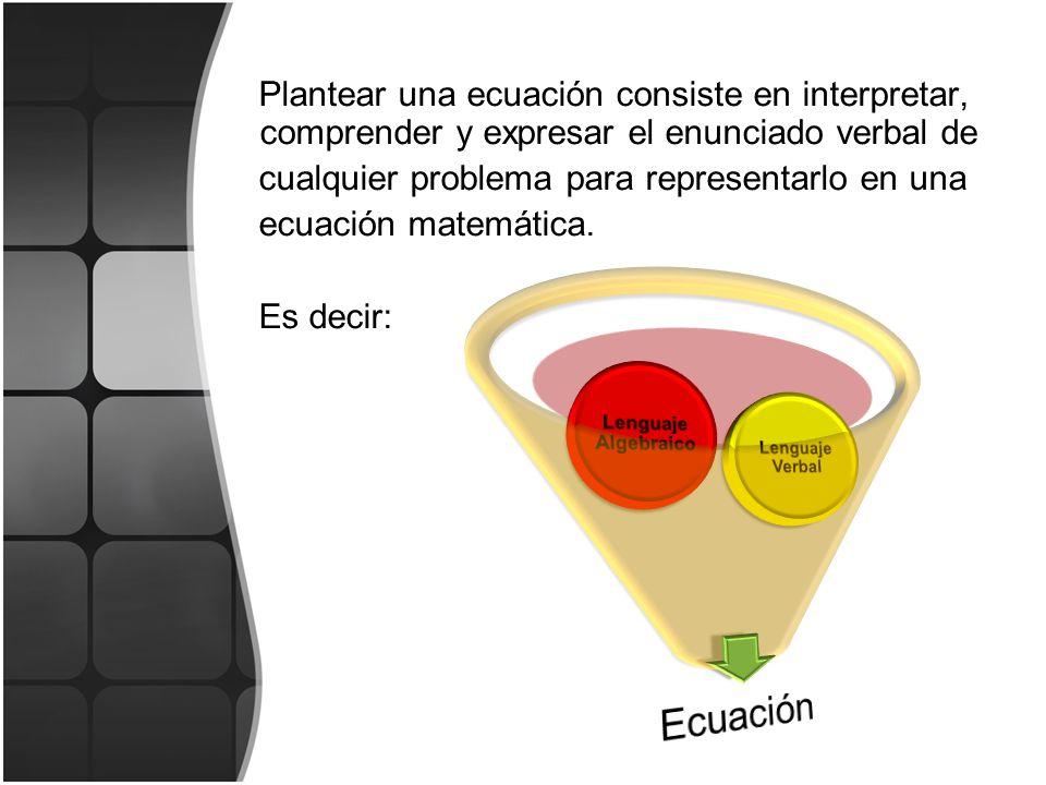 cualquier problema para representarlo en una ecuación matemática.