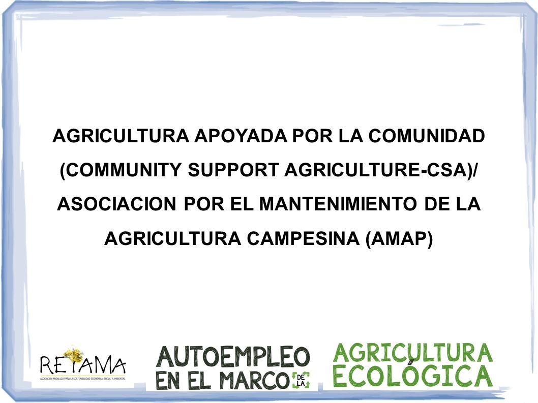 AGRICULTURA APOYADA POR LA COMUNIDAD (COMMUNITY SUPPORT AGRICULTURE-CSA)/ ASOCIACION POR EL MANTENIMIENTO DE LA AGRICULTURA CAMPESINA (AMAP)