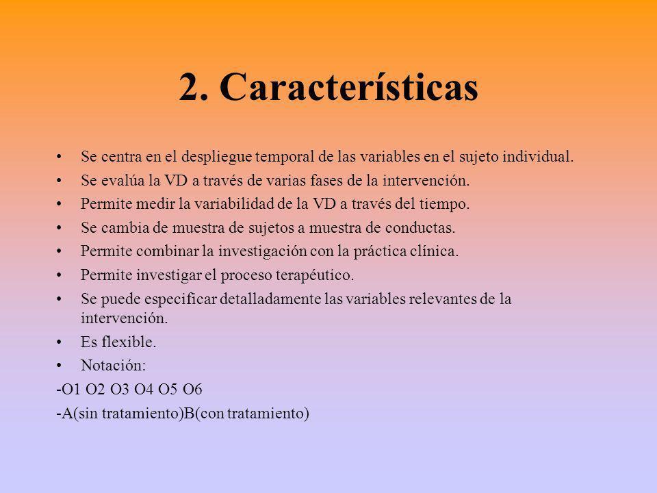2. Características Se centra en el despliegue temporal de las variables en el sujeto individual.