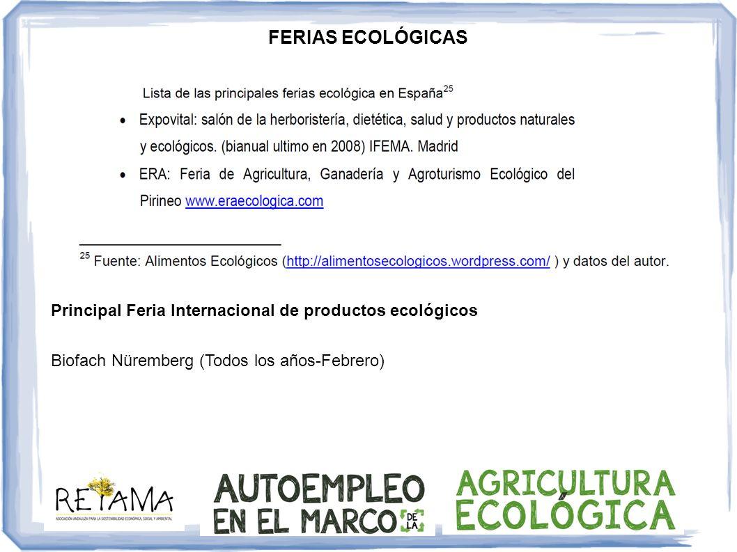 FERIAS ECOLÓGICAS Principal Feria Internacional de productos ecológicos.
