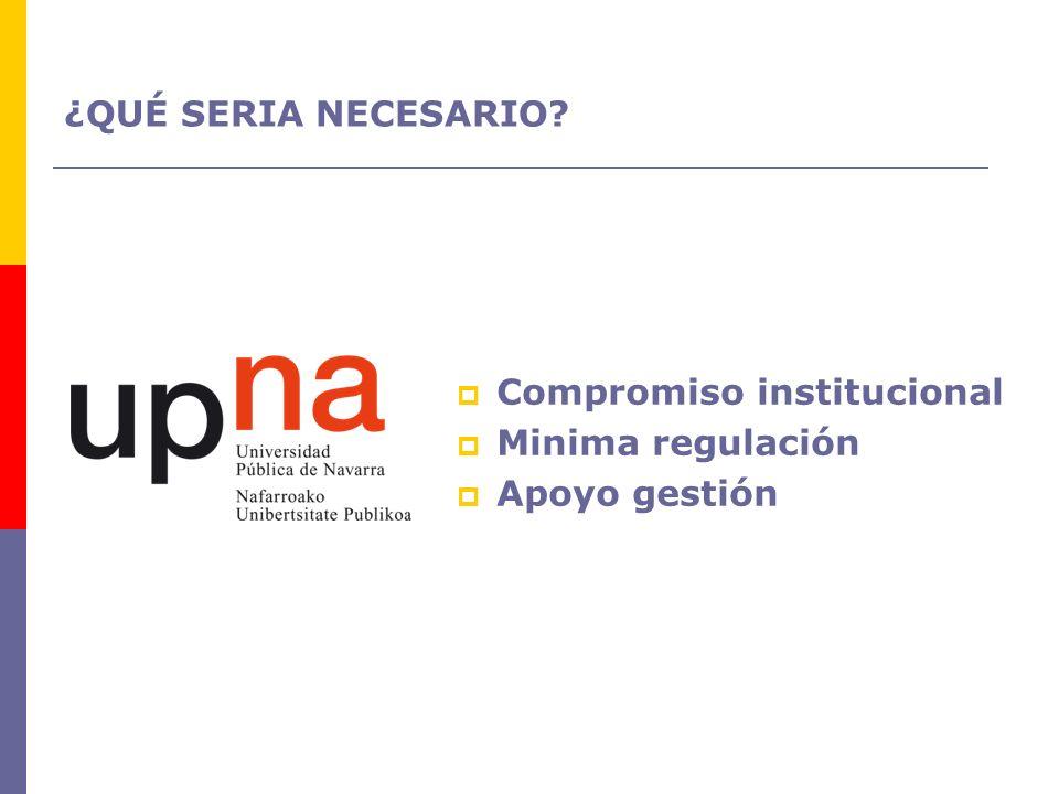 ¿QUÉ SERIA NECESARIO Compromiso institucional Minima regulación Apoyo gestión