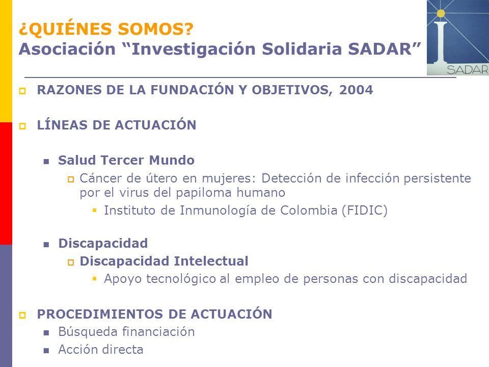 ¿QUIÉNES SOMOS Asociación Investigación Solidaria SADAR