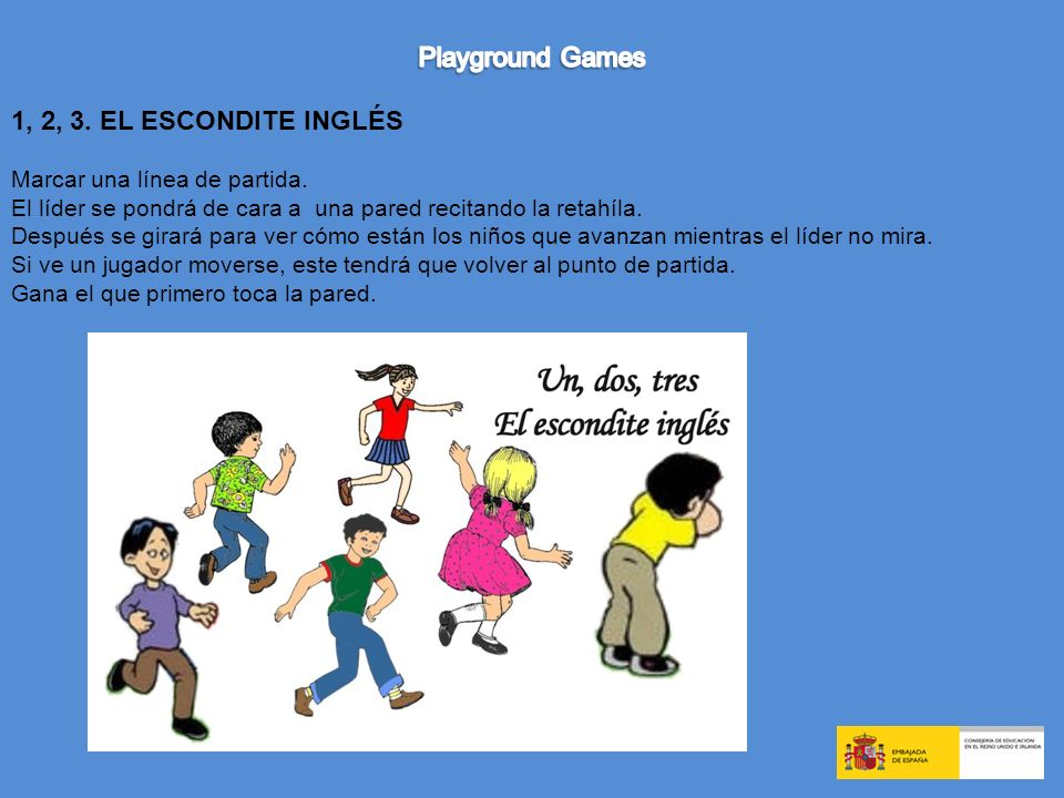 Playground Games 1, 2, 3. EL ESCONDITE INGLÉS