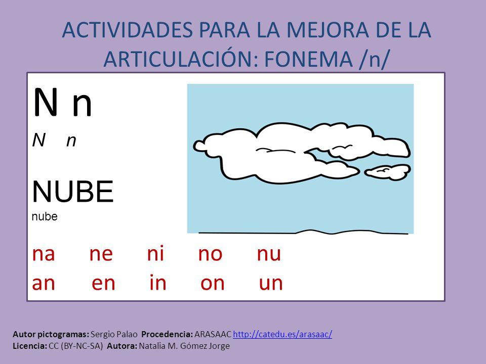 ACTIVIDADES PARA LA MEJORA DE LA ARTICULACIÓN: FONEMA /n/