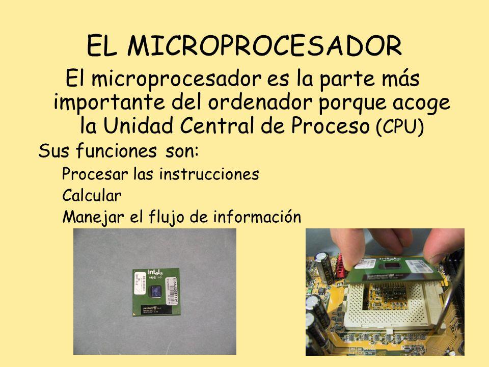 EL MICROPROCESADOR El microprocesador es la parte más importante del ordenador porque acoge la Unidad Central de Proceso (CPU)