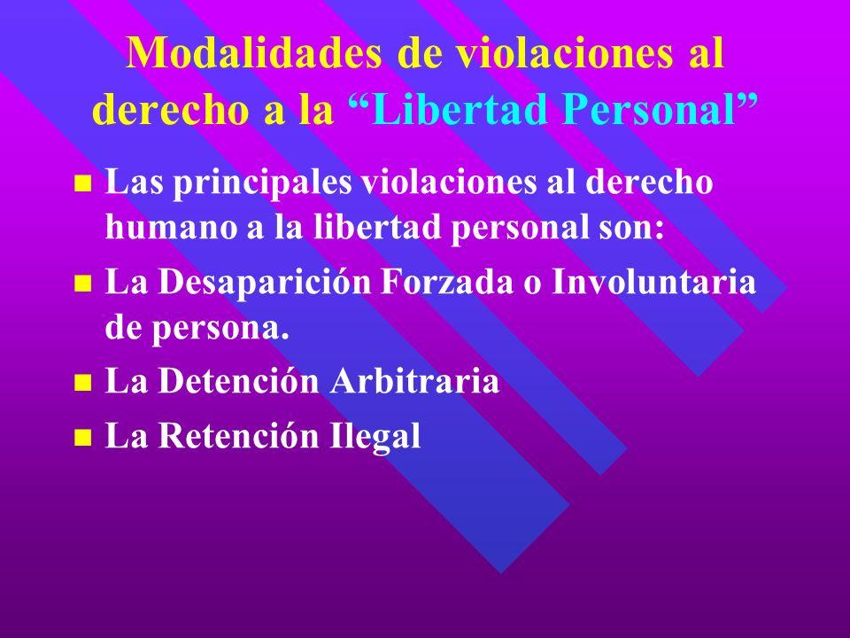 Modalidades de violaciones al derecho a la Libertad Personal