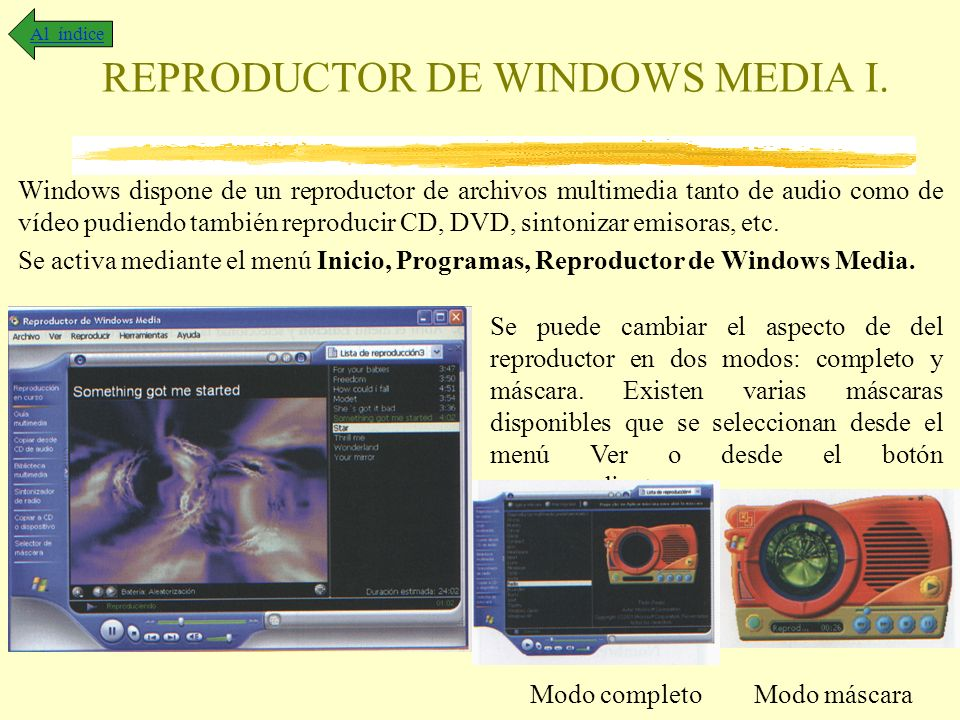 REPRODUCTOR DE WINDOWS MEDIA I.