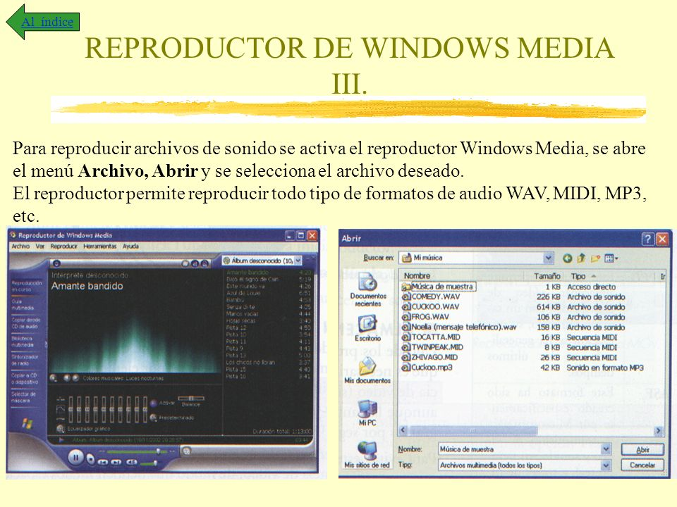 REPRODUCTOR DE WINDOWS MEDIA III.