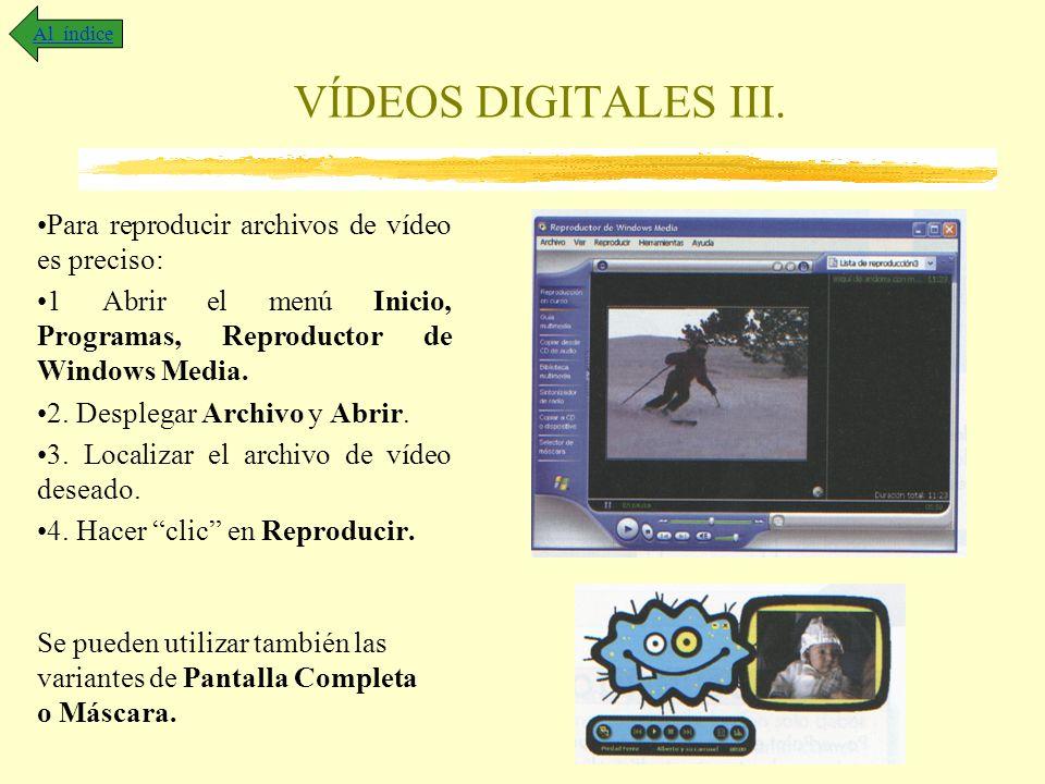 VÍDEOS DIGITALES III. Para reproducir archivos de vídeo es preciso: