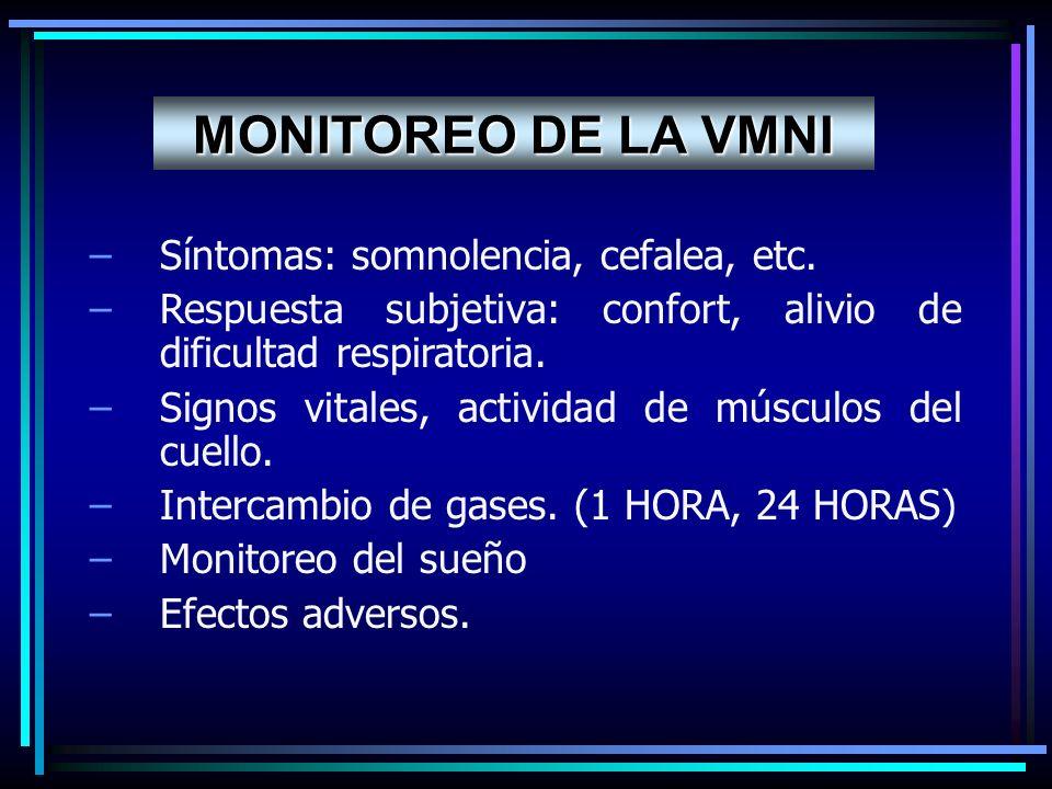MONITOREO DE LA VMNI Síntomas: somnolencia, cefalea, etc.
