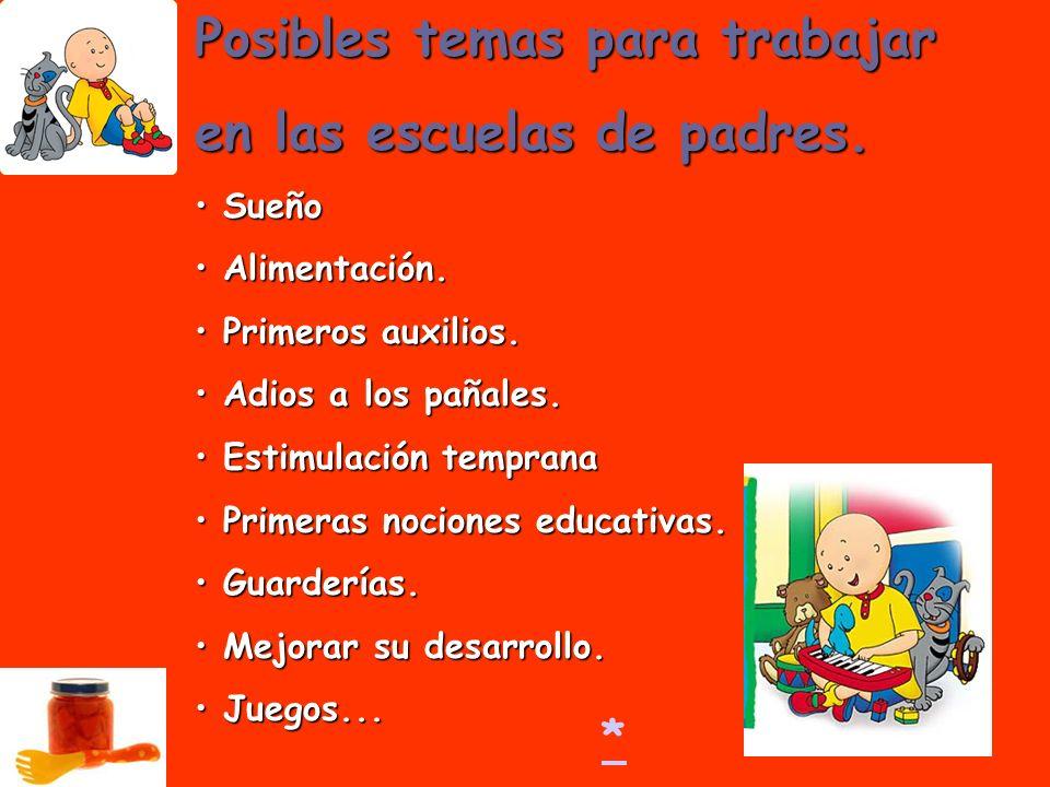 Posibles temas para trabajar en las escuelas de padres.