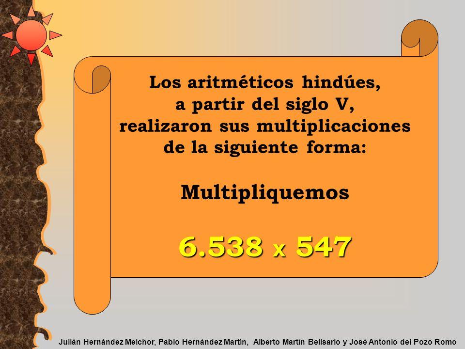 Los aritméticos hindúes, realizaron sus multiplicaciones