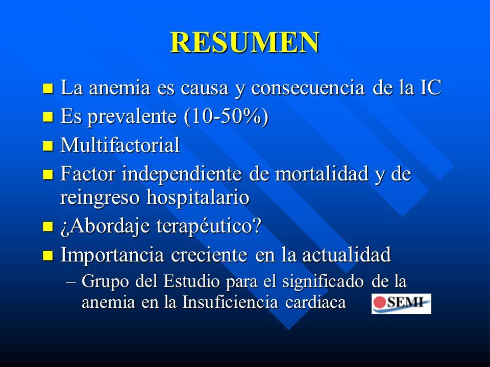 RESUMEN La anemia es causa y consecuencia de la IC