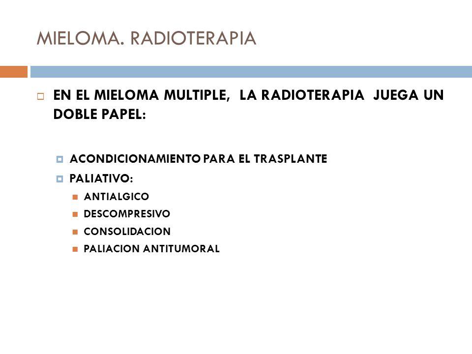 MIELOMA. RADIOTERAPIAEN EL MIELOMA MULTIPLE, LA RADIOTERAPIA JUEGA UN DOBLE PAPEL: ACONDICIONAMIENTO PARA EL TRASPLANTE.