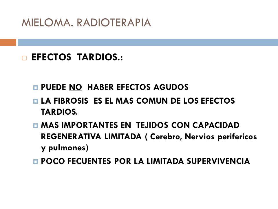 MIELOMA. RADIOTERAPIA EFECTOS TARDIOS.: PUEDE NO HABER EFECTOS AGUDOS