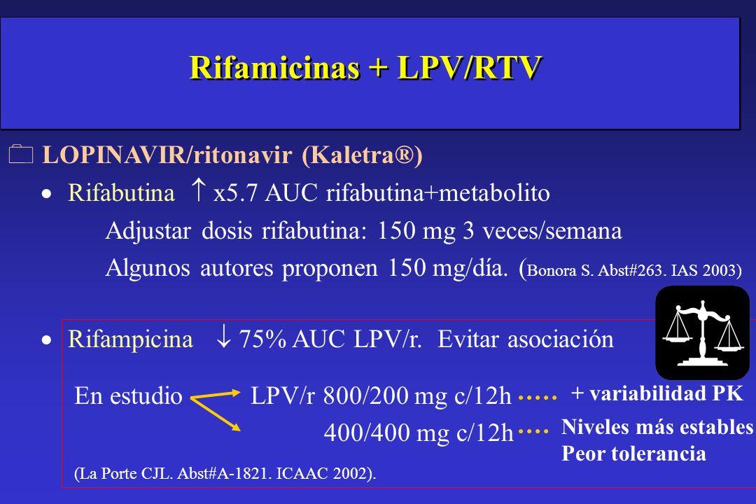 Rifamicinas + LPV/RTV LOPINAVIR/ritonavir (Kaletra®)