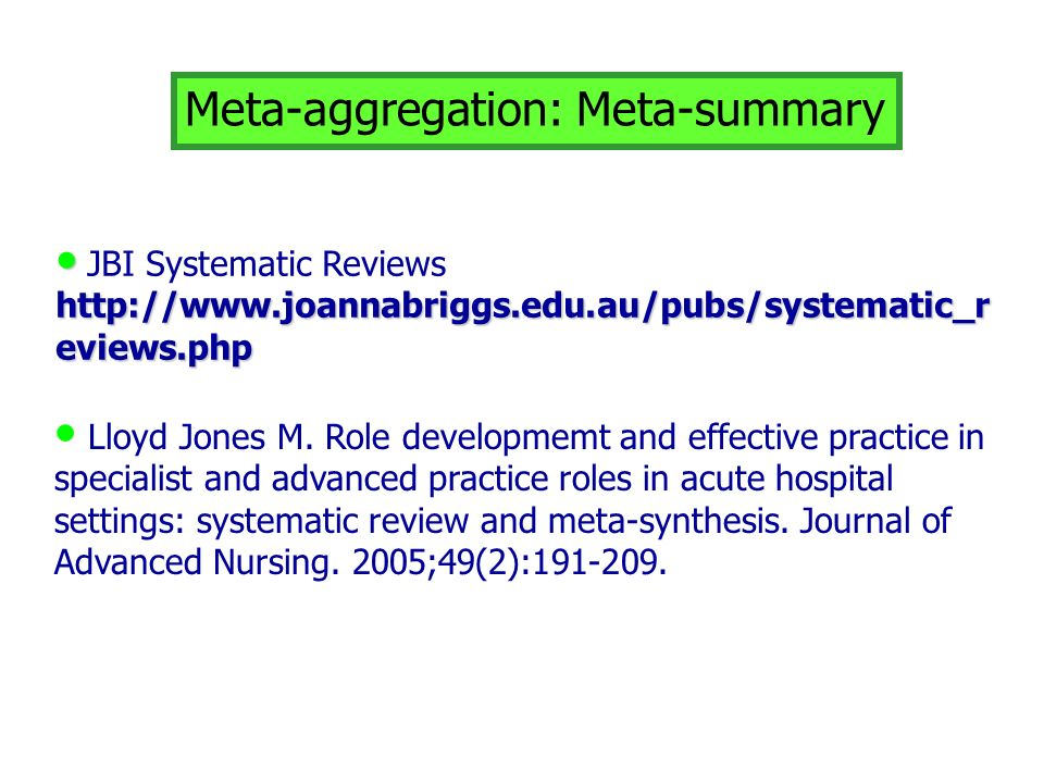 Meta-aggregation: Meta-summary