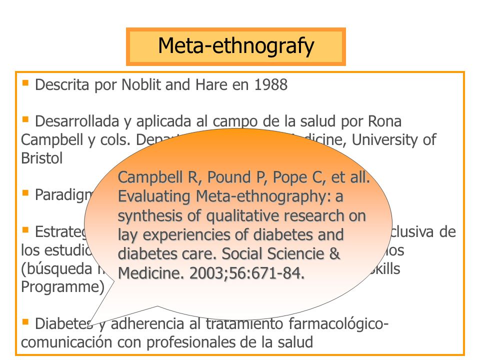 Meta-ethnografy Descrita por Noblit and Hare en 1988.