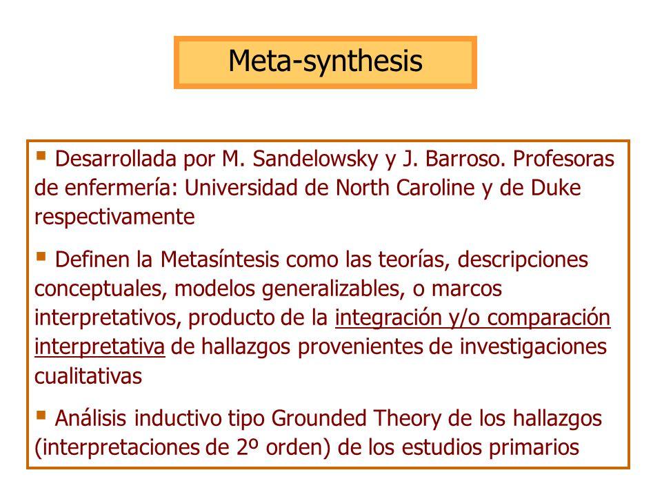 Meta-synthesis Desarrollada por M. Sandelowsky y J. Barroso. Profesoras de enfermería: Universidad de North Caroline y de Duke respectivamente.