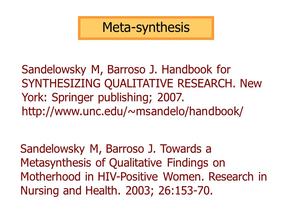 Meta-synthesisSandelowsky M, Barroso J. Handbook for SYNTHESIZING QUALITATIVE RESEARCH. New York: Springer publishing; 2007.