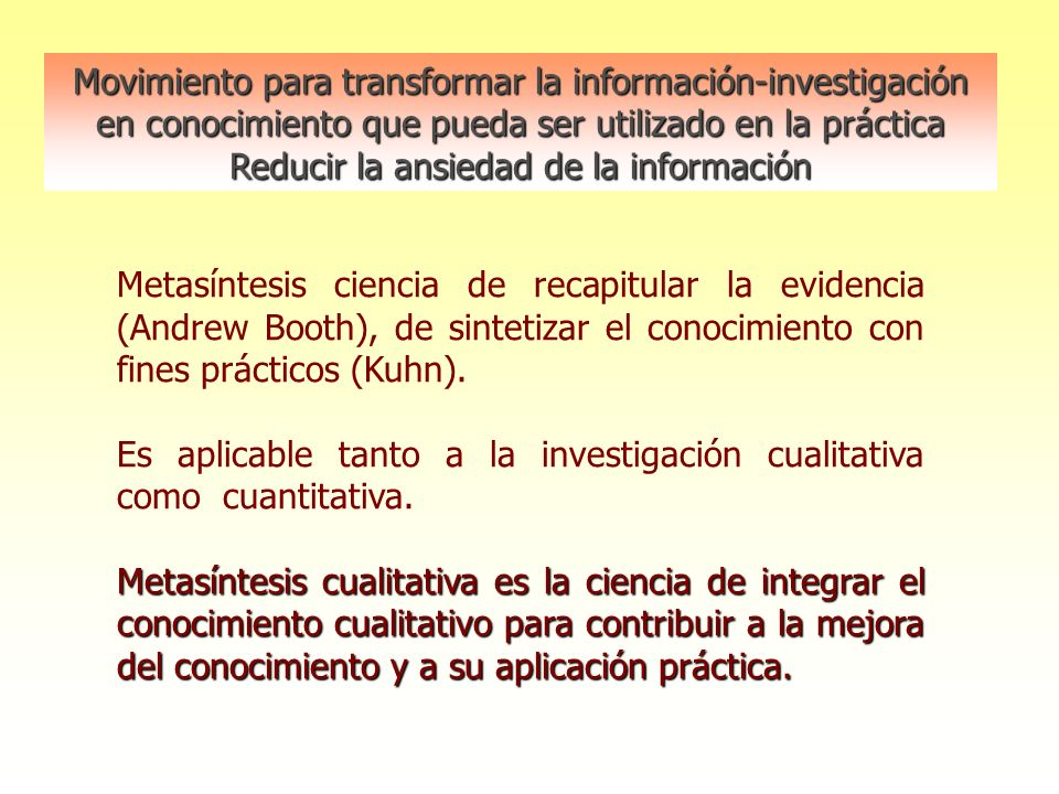 Movimiento para transformar la información-investigación en conocimiento que pueda ser utilizado en la práctica Reducir la ansiedad de la información