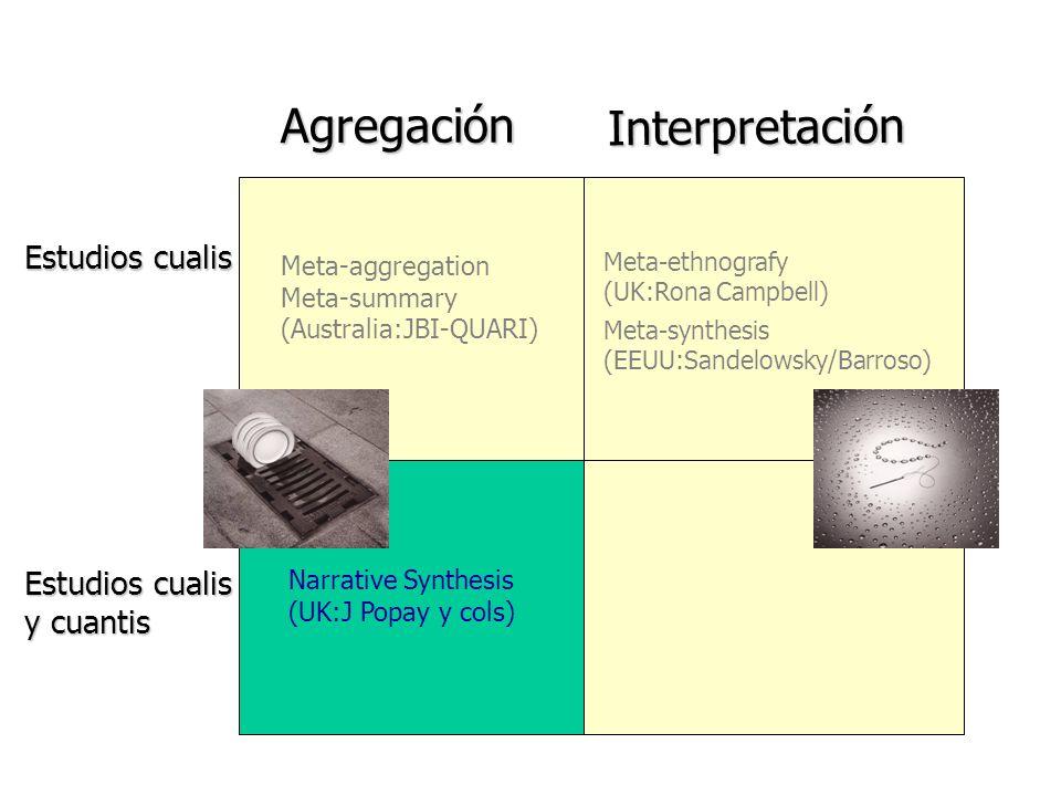 Agregación Interpretación Estudios cualis Estudios cualis y cuantis