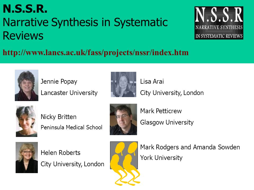 N.S.S.R. Narrative Synthesis in Systematic Reviews