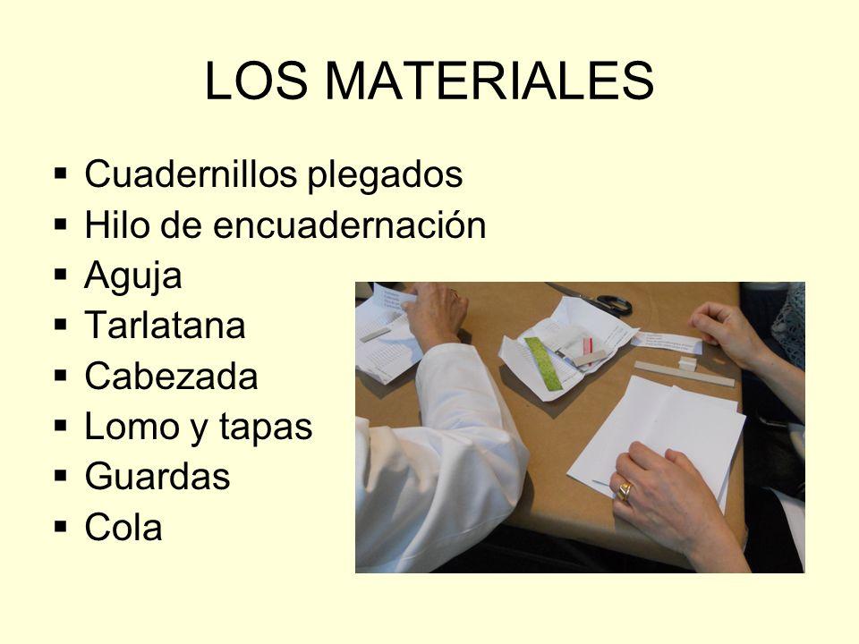 LOS MATERIALES Cuadernillos plegados Hilo de encuadernación Aguja