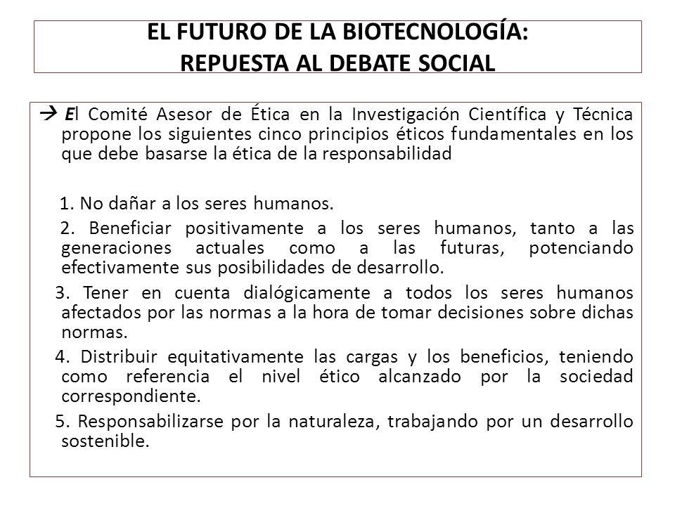 EL FUTURO DE LA BIOTECNOLOGÍA: REPUESTA AL DEBATE SOCIAL