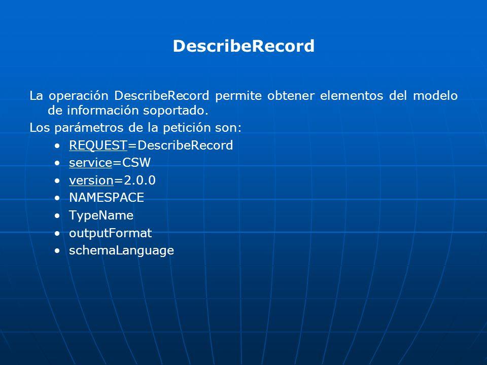 DescribeRecord La operación DescribeRecord permite obtener elementos del modelo de información soportado.