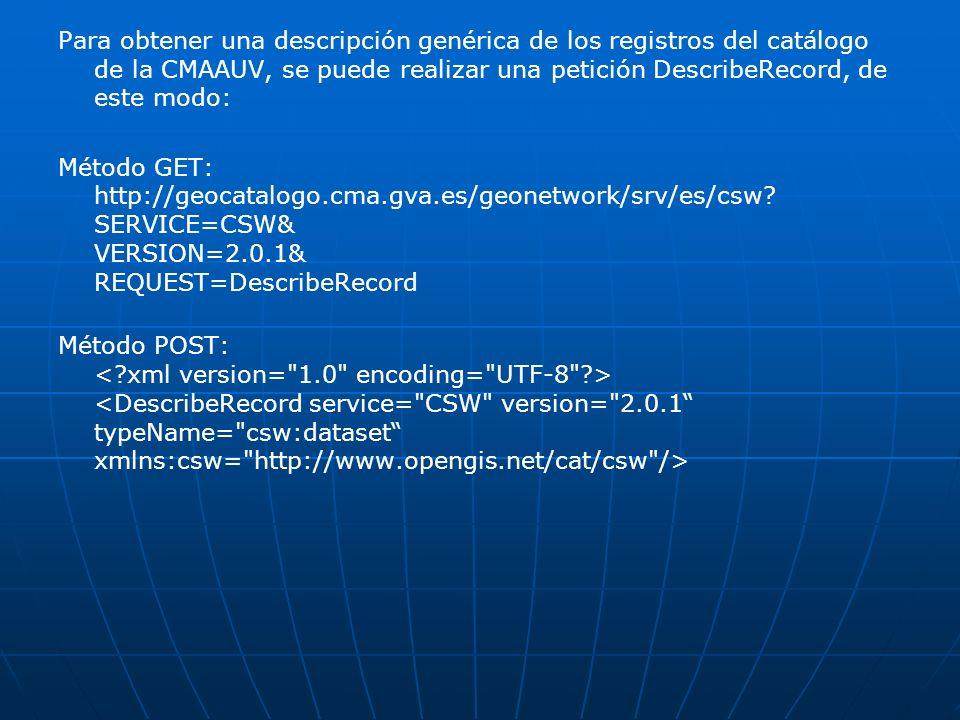 Para obtener una descripción genérica de los registros del catálogo de la CMAAUV, se puede realizar una petición DescribeRecord, de este modo: