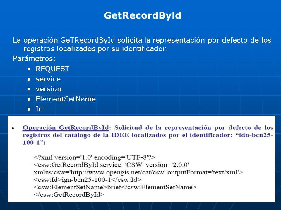 GetRecordByld La operación GeTRecordById solicita la representación por defecto de los registros localizados por su identificador.