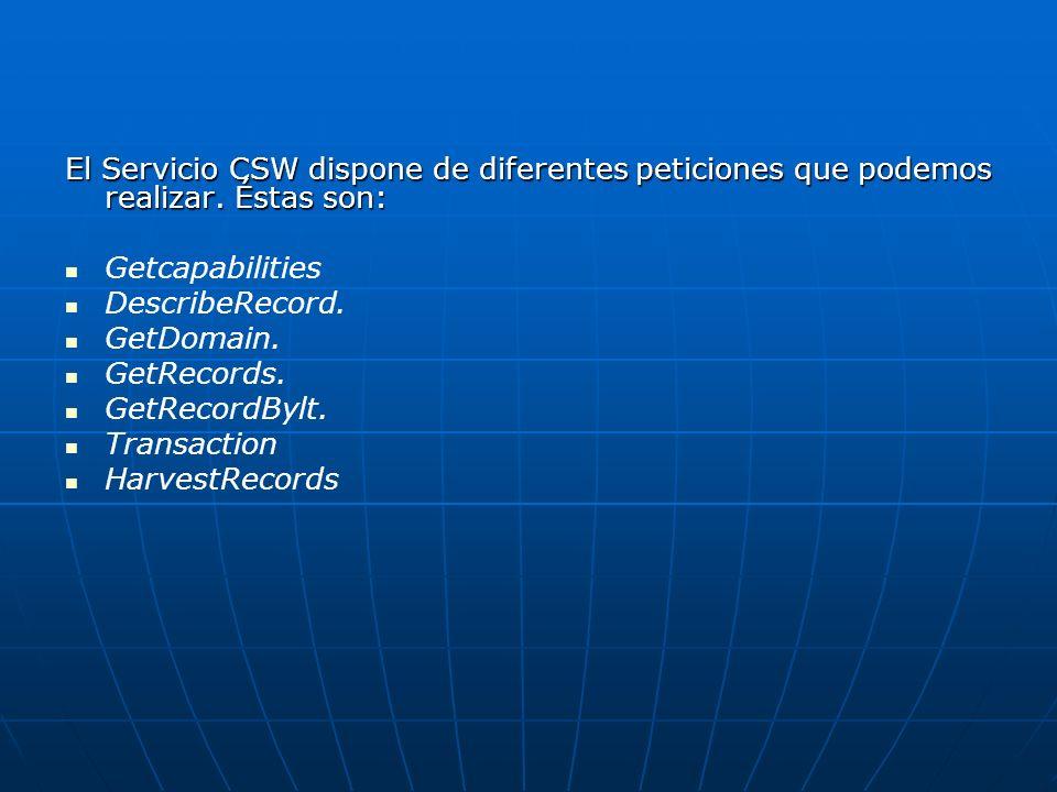 El Servicio CSW dispone de diferentes peticiones que podemos realizar