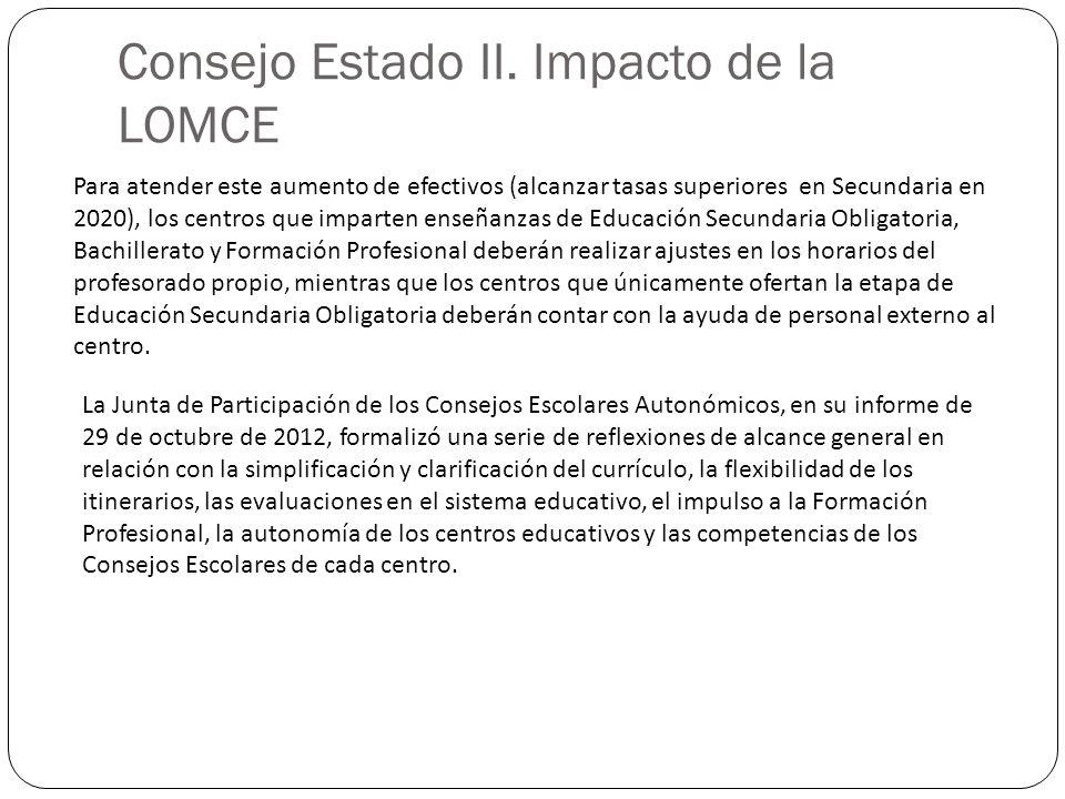 Consejo Estado II. Impacto de la LOMCE