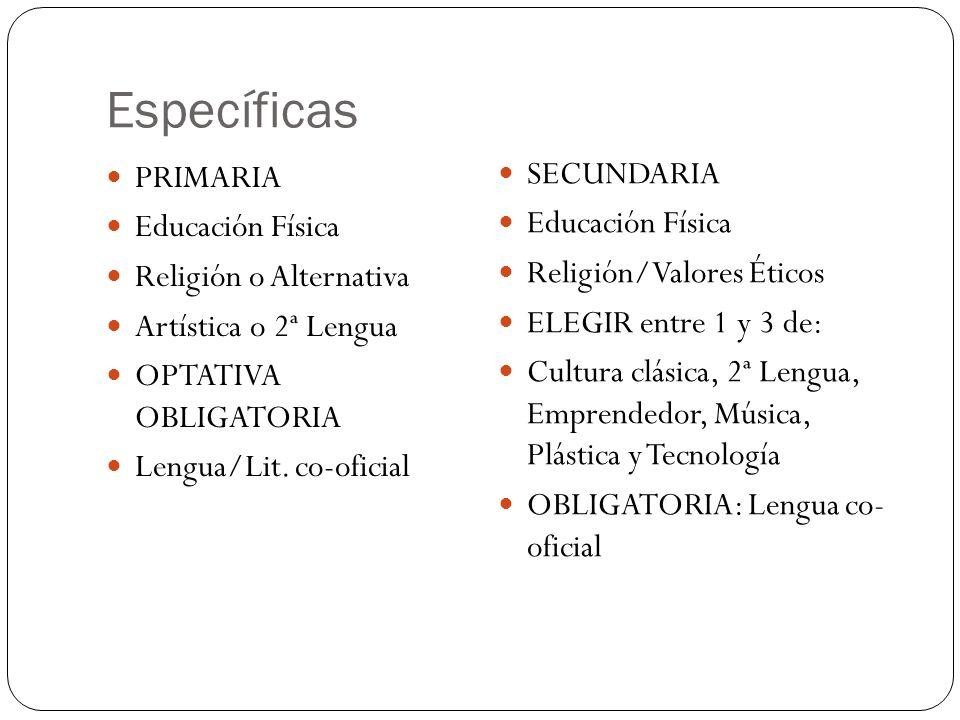 Específicas SECUNDARIA PRIMARIA Educación Física Educación Física