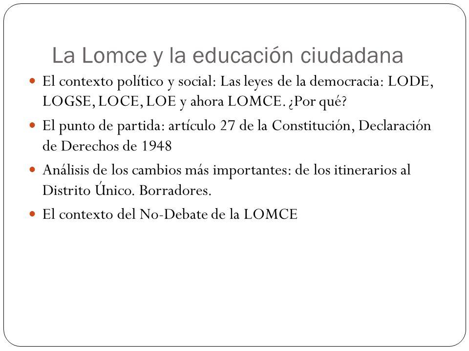 La Lomce y la educación ciudadana