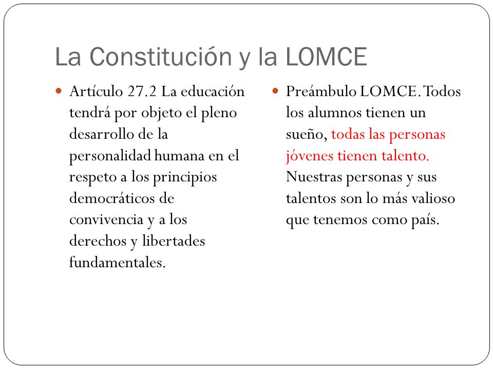 La Constitución y la LOMCE