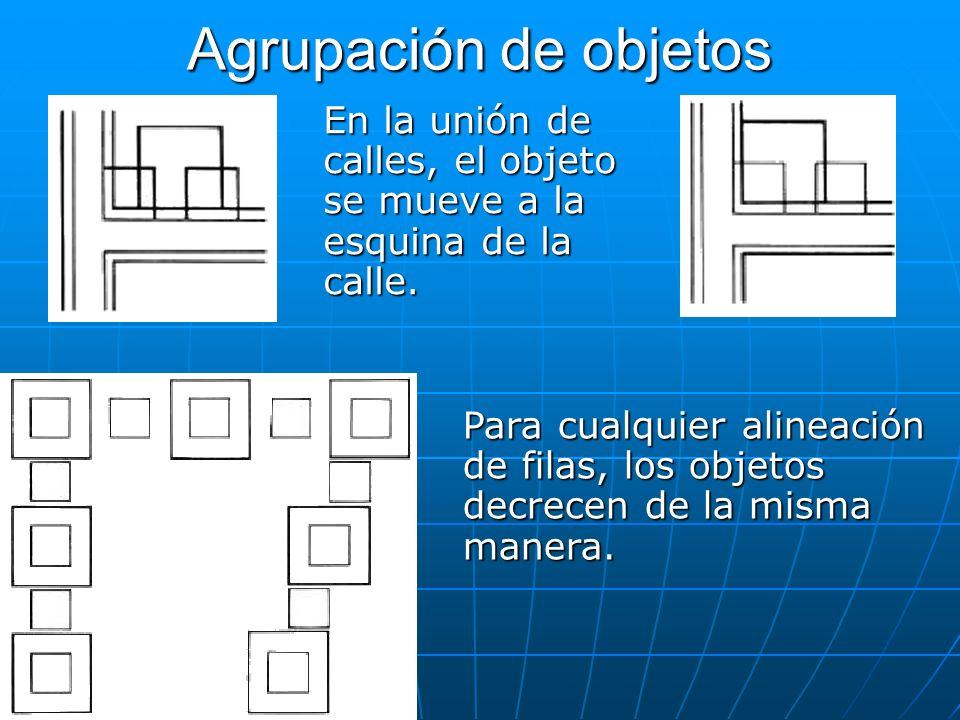 Agrupación de objetosEn la unión de calles, el objeto se mueve a la esquina de la calle.