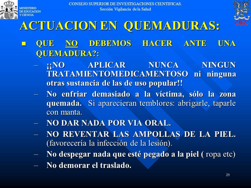 ACTUACION EN QUEMADURAS: