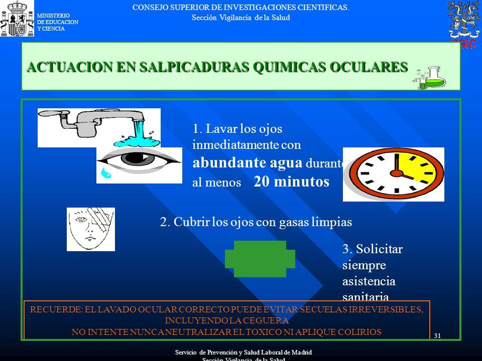ACTUACION EN SALPICADURAS QUIMICAS OCULARES